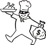Burglar chef with money Royalty Free Stock Images