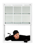 Burglar: Coming In Window with Crowbar Stock Photography