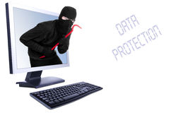 Burglar in computer. Isolated on white royalty free stock images