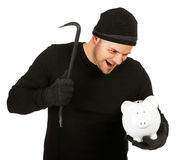Burglar: Evil Man Breaks Bank. Series with Caucasian male as a burglar or thief, sneaking in a window, carrying stolen goods, etc.  Isolated on white background Stock Images