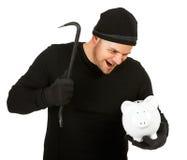 Burglar: Evil Man Breaks Bank Stock Images