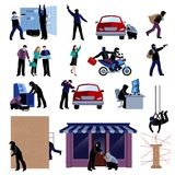 Burglar Flat Icons Set Royalty Free Stock Photo