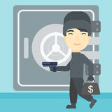 Burglar with gun near safe vector illustration. Royalty Free Stock Photo