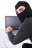 Burglar hacking into laptop while looking at camera Stock Images