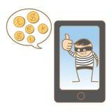 Burglar hacking mobile Royalty Free Stock Image