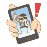 Burglar hacking mobile data. Cartoon character of burglar hacking mobile data Stock Photography