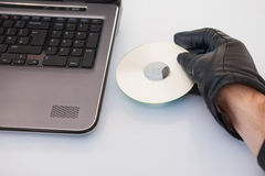 Burglar hacking and putting a cd-rom in laptop. On white background Stock Images