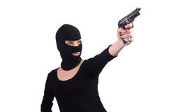 Burglar with handgun. Isolated on white royalty free stock images