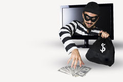 Burglar. Happy Burglar stealing money in a computer monitor on a white background stock images
