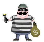 Burglar Holding Bag of Money and Flashlight. Illustration featuring cartoon burglar holding bag of money and flashlight isolated on white background. Eps file is Royalty Free Stock Photos
