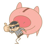 burglar holding money pig Royalty Free Stock Photography