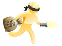 Burglar with money and flashlight Stock Photography
