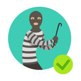 Burglar In Msk With Crowbar, Insurance Company Services Infographic Illustration. Vector Icon With Type Of Insurance Helping People To Protect Their Property Royalty Free Stock Image