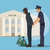 Illustration of a Robber with Money Bags Arrested by Police. Burglar and policeman vector illustration Royalty Free Stock Images