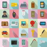 Burglar robber plunderer icons set, flat style. Burglar robber mugger plunderer icons set. Flat illustration of 25 burglar robber mugger plunderer vector icons Stock Photos