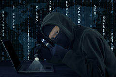 Burglar staring at the camera while stealing user identity. Photo of male burglar wearing mask and using flashlight to steal user id on the laptop Royalty Free Stock Photos