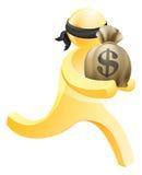 Burglar or thief running with sack of money Stock Photos