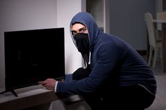 The burglar thief stealing tv from apartment house. Burglar thief stealing tv from apartment house stock photos
