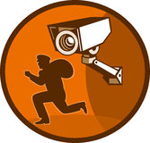 Burglar thief surveillance camera. Illustration of a burglar thief running with Security surveillance camera cctv Stock Images