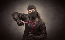 Burglar with tool. Stock Photos