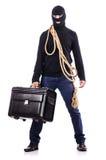 Burglar wearing balaclava. Isolated on white Royalty Free Stock Photography