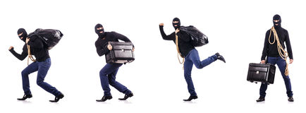 The burglar wearing balaclava isolated on white Royalty Free Stock Images