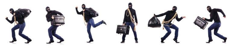 The burglar wearing balaclava isolated on white Stock Photo