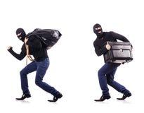 The burglar wearing balaclava isolated on white. Burglar wearing balaclava isolated on white Stock Photography