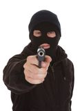 Burglar Wearing Mask Holding Gun Royalty Free Stock Photo
