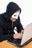 Burglar with white mask hacking a laptop Stock Image