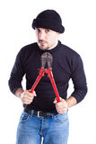 Burglar with wire cutters Royalty Free Stock Photography