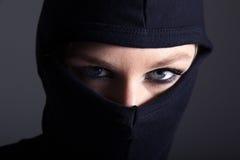 Burglar woman with mask Royalty Free Stock Photos
