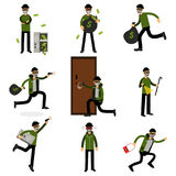 Burglars committing crimes set, sneaking thiefs vector Illustrations Royalty Free Stock Image