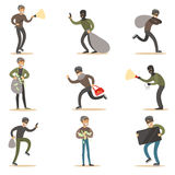 Burglars, Muggers And Thieves Set Of Smiling Criminals At The Crime Scene Stealing Vector Illustrations. Cartoon Outlaw Male Characters Thieving Wearing Mask Royalty Free Stock Images
