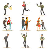 Burglars, Pickpockets And Thieves Set Of Smiling Criminals At The Crime Scene Stealing Vector Illustrations. Cartoon Outlaw Male Characters Thieving Wearing Royalty Free Stock Photos