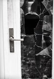 Burglary. Broken glass door after burglary Stock Photos