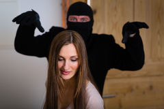 Burglary criminal - culprit and victim Stock Photo