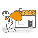 Burglary. Intrusion of a burglar,  illustration Stock Images