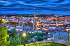 Burgos aerial view skyline sunset with Cathedral Stock Image
