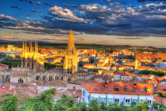 Burgos aerial view skyline sunset with Cathedral Royalty Free Stock Images