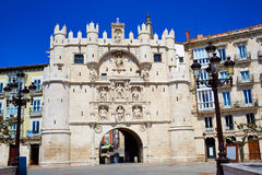 Burgos Arco de Santa Maria båge på Castilla Spanien Arkivbilder
