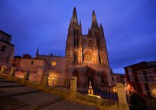 Burgos Cathedral in the dusk light, Spain. Royalty Free Stock Photo