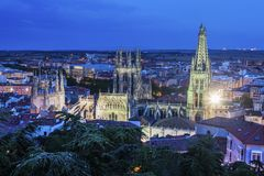 Burgos Cathedral at night. Burgos, Castile and Leon, Spain Royalty Free Stock Photo