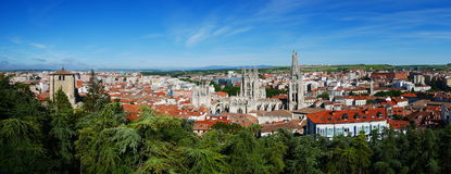 Burgos with the cathedral. Panoramic view of Burgos in Spain Stock Image