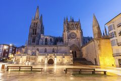 Burgos Cathedral at night. Burgos Cathedral on Plaza de San Fernando. Burgos, Castile and Leon, Spain Stock Photos