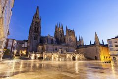 Burgos Cathedral at night. Burgos Cathedral on Plaza de San Fernando. Burgos, Castile and Leon, Spain Royalty Free Stock Photo