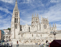 Burgos Cathedral, Spain. View of the square of the King and the Cathedral of burgos, Spain Royalty Free Stock Photo