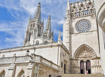 Burgos Cathedral, Spain. Input and overview of the gothic cathedral of Burgos, Spain Royalty Free Stock Images
