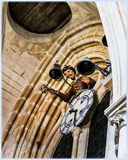 Burgos Cathedral, Spain. Interior of Burgos Cathedral, Papamoscas and the clock Stock Image