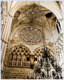 Burgos Cathedral, Spain. Interior of Burgos Cathedral, rose at the entrance Royalty Free Stock Photo